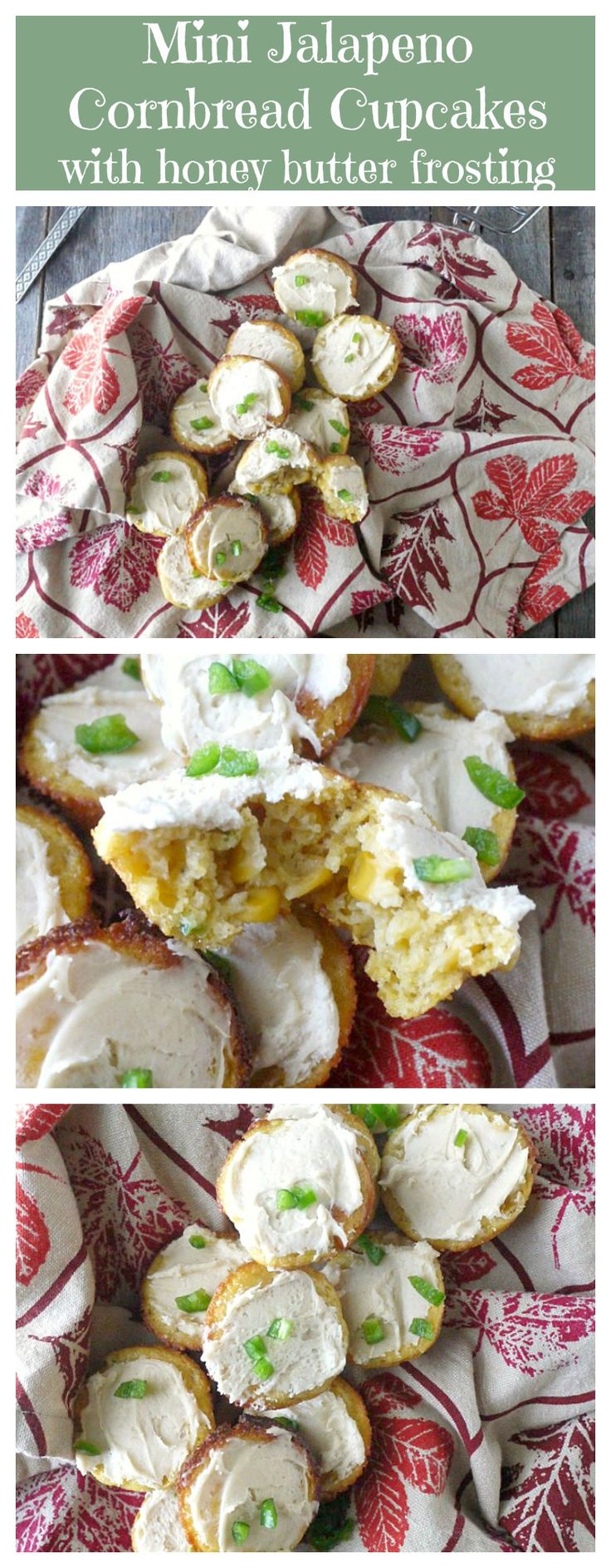 Mini Jalapeno Cornbread Cupcakes with Honey Butter Frosting - an appetizer, dessert and side dish all in one!