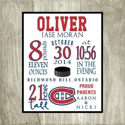 Birth Stat Personalized Montreal Canadiens Hockey, 8x10 digital file