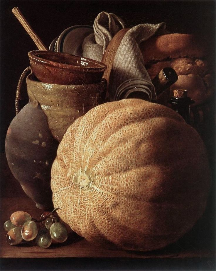 "Art from Spain - Luis Egidio Meléndez (1716–1780) was a Spanish painter. Although he received little acclaim during his lifetime and died in poverty, Meléndez is recognized today as the greatest Spanish still-life painter of the 18th century. ""Bodegón de frutas y utensilios de cocina"" Museo Nacional de Escultura. Valladolid. Spain."