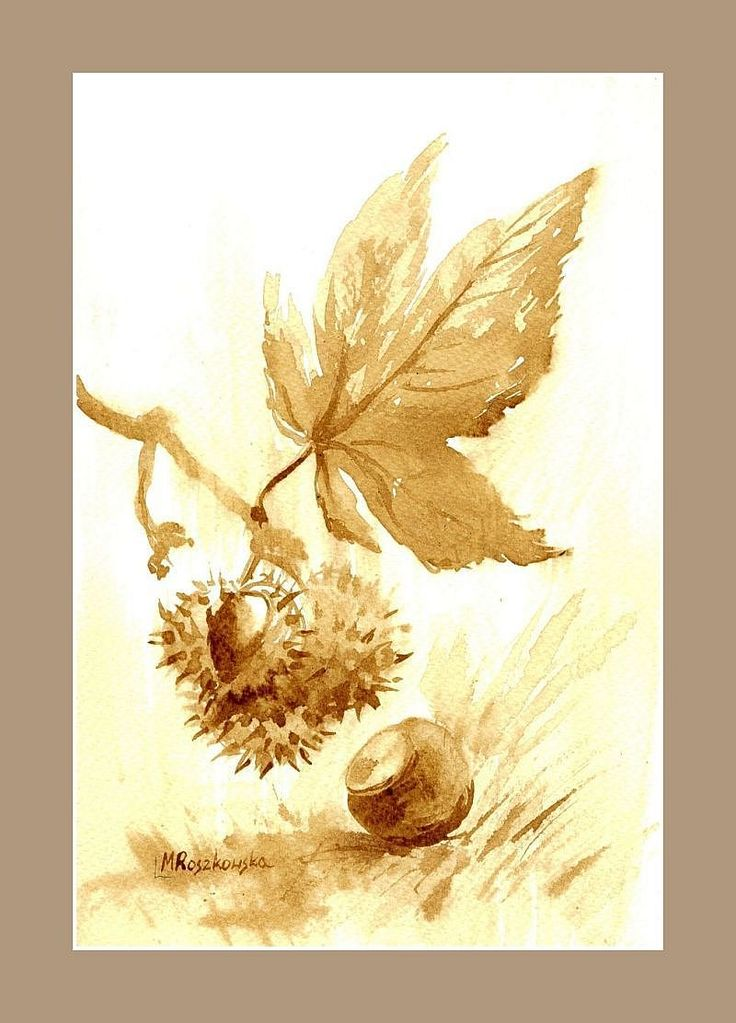 Kasztan -  watercolour painted with coffee  http://www.artmarylacoffee.pl/
