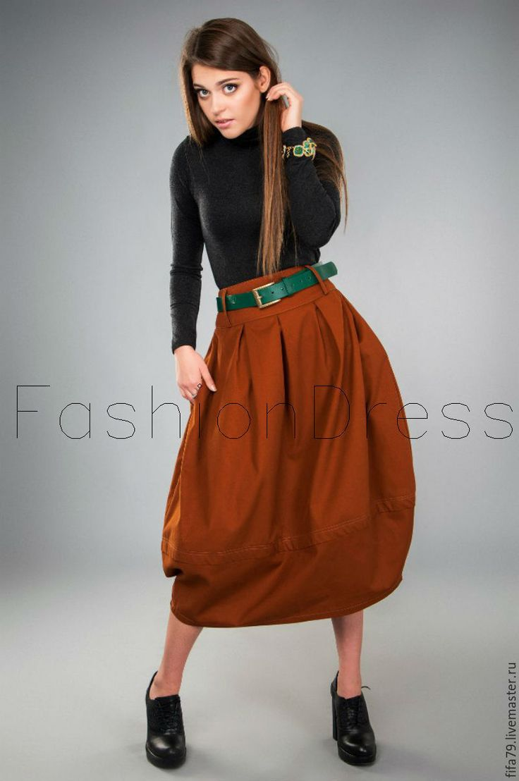 Купить Кирпичная Теплая Юбка Кокон - коричневый, однотонный, юбка длинная, осенняя мода