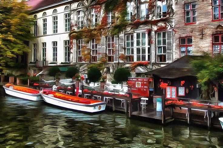Along the river. Bruges, Belgium.