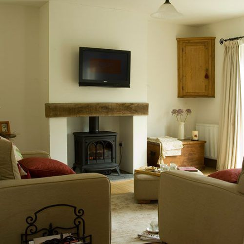 Living room with woodburning stove | Living room decorating | 25 Beautiful Homes | Housetohome.co.uk