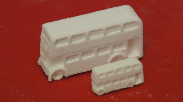 3d printed london bus in sugar