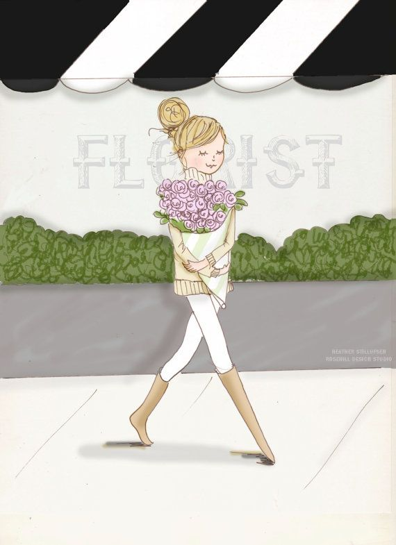 Wall Art  Print  A Visit to the Florist by RoseHillDesignStudio, $20.00