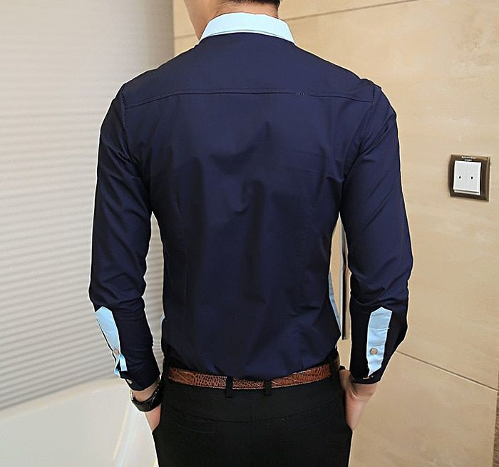 Fashionable Shirt Collar Unique Pocket Color Splicing Long Sleeves  Polyester Shirt For Men