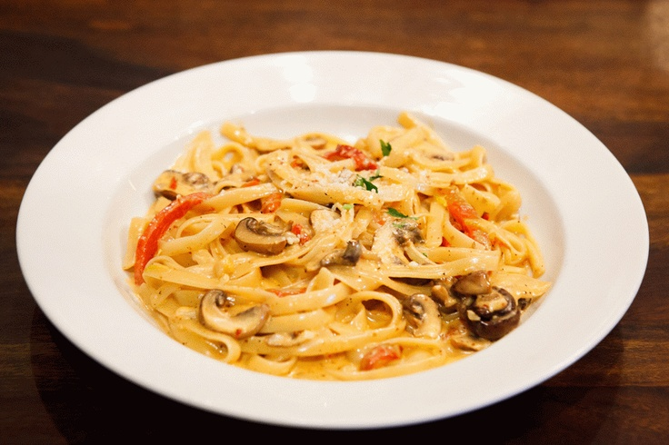 Fire Roasted Red Pepper with Wild Mushroom Pasta served on fettuccine ...