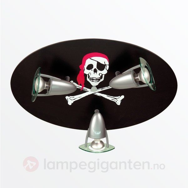 Hodeskalle taklampe med tre spotter