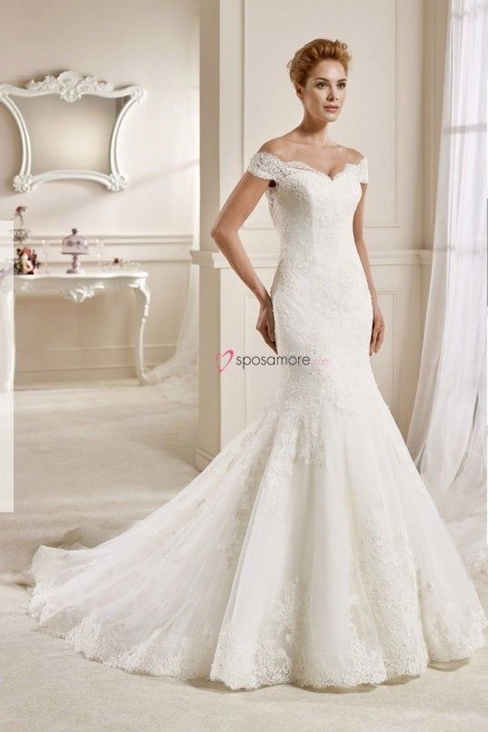 """YUDANI - abito da sposa con le spalline """"cadenti"""" a sirena in organza,raso e pizzo con decorazioni di perline"""