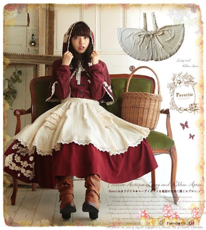 エプロンドレススカート【予約:12月下旬発送】*Favoriteオリジナル*赤ずきんちゃんシリーズ第3弾゜+.コーディネートを童話の世界に惹きこむフリルエプロンスカート♪