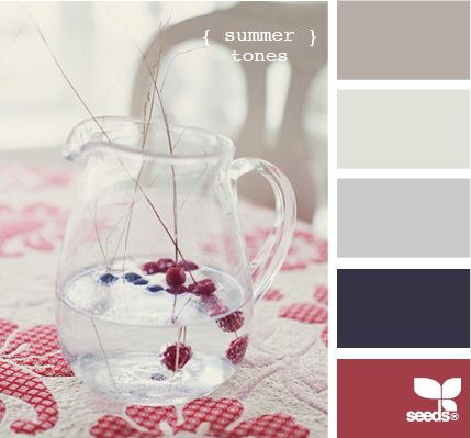 A nice spin on fourth of July colors!: Colour, Color Palettes, Color Inspiration, Color Schemes, Colors, Color Pallets, Living Room, Summer Tones