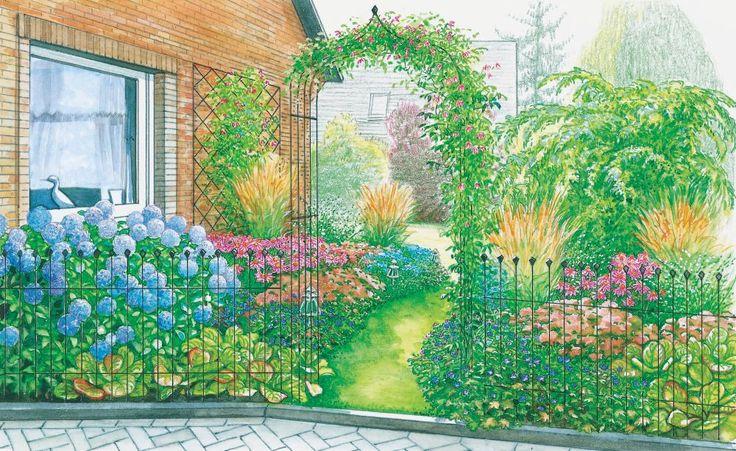 Ein Vorgarten sollte besonders schön gestaltet sein, denn das ist der Gartenbereich, den jeder zu sehen bekommt. Diese Vorschläge werden in Ihrer Nachbarschaft garantiert viel Aufmerksamkeit erregen. (Pflanzplan als PDF zum Herunterladen und Ausdrucken)