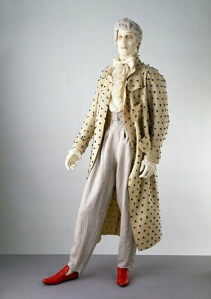 1815-1822. This nightgown is an example of one type of informal clothing worn by men in the early 19th century. Nightgowns were worn over shirt and breeches, in the privacy of home before noon or late at night.