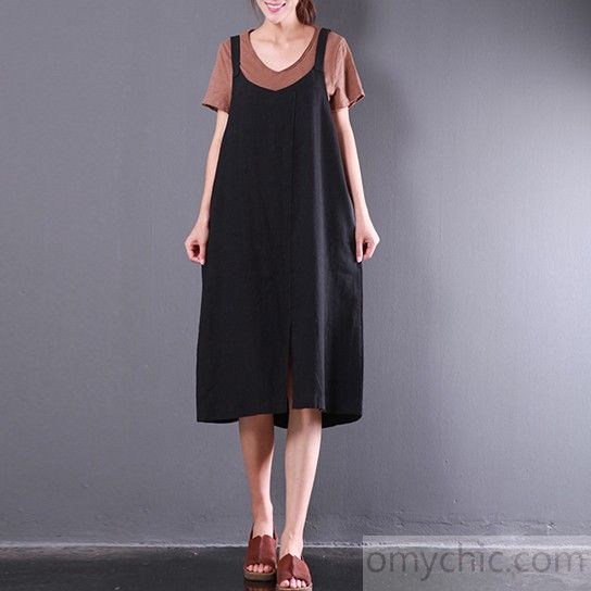 summer baggy loose black casual linen dresses plus size sundress sleeveless maxi dress front side open