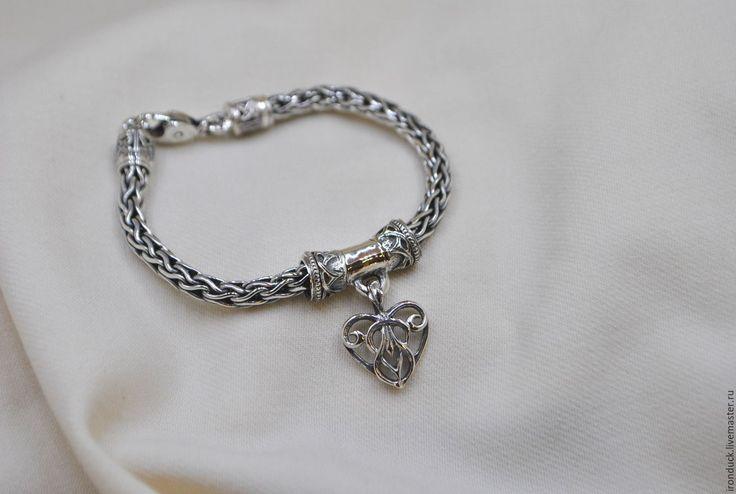 """Купить Браслет """"Сердце лиса"""" - серебряный, серебро 925 пробы, серебряные украшения, серебряный браслет"""