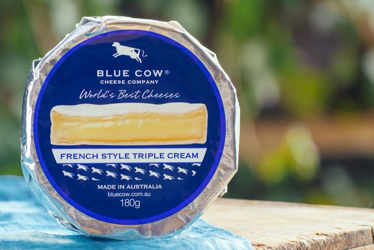Blue Cow French Style Triple Cream - This French inspired triple cream is made using the best  production techniques and milk available in Australia. Its  delicate white rind reveals a silky smooth, creamy soft  cheese beneath. It has a milky, fruity flavour with the aroma  of mushrooms becoming more intense and salty as it matures.