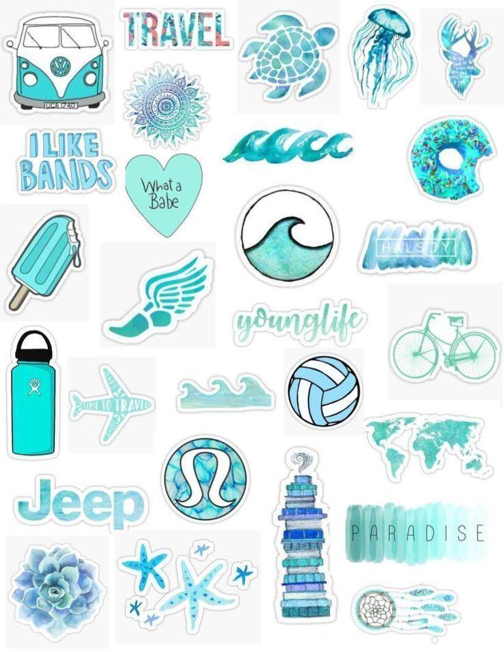 blaugrün Tumblr Aufkleber ästhetische blaue Wellen Aqua bearbeiten Overlay Sticker Pack Wasser