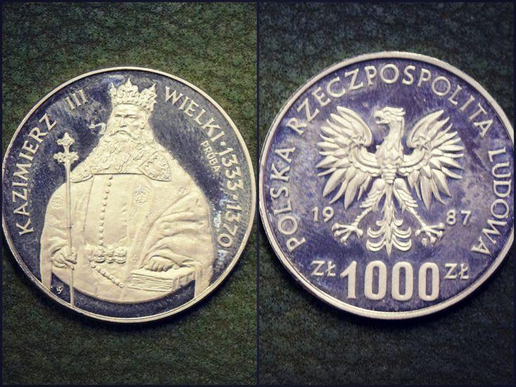 Moneta 1000 złotych – Kazimierz Wielki. Wykonanie – Mennica Państwowa w Warszawie. Emisja – NBP, 1987 r.