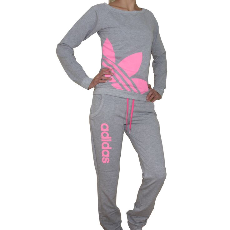 Pink and Gray Adidas Track Suit