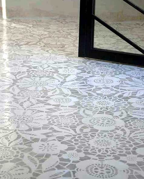 Painted lace stencil floor