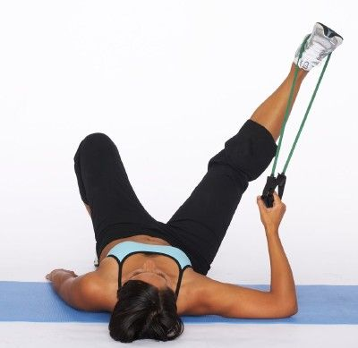 How to Do an Inner Thigh Toner with Resistance Tube Step Two