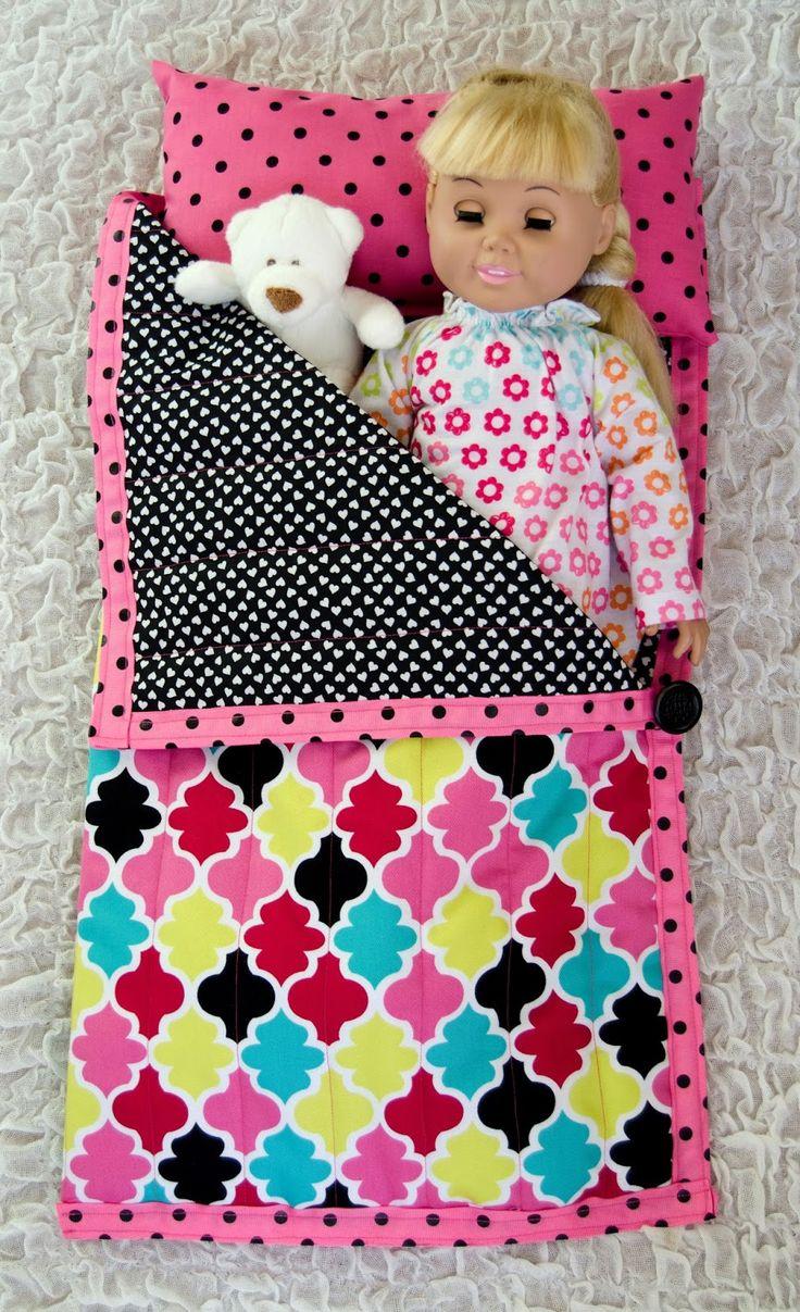 "18"" American Girl doll sleeping bag {link for tutorial}"