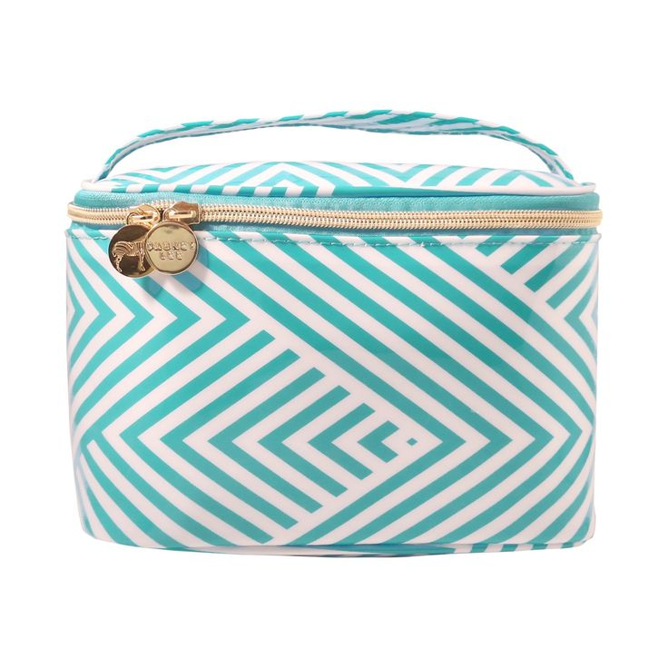 Dabney Lee Aqua Chevron Train Case Makeup Bag, Lite Blue