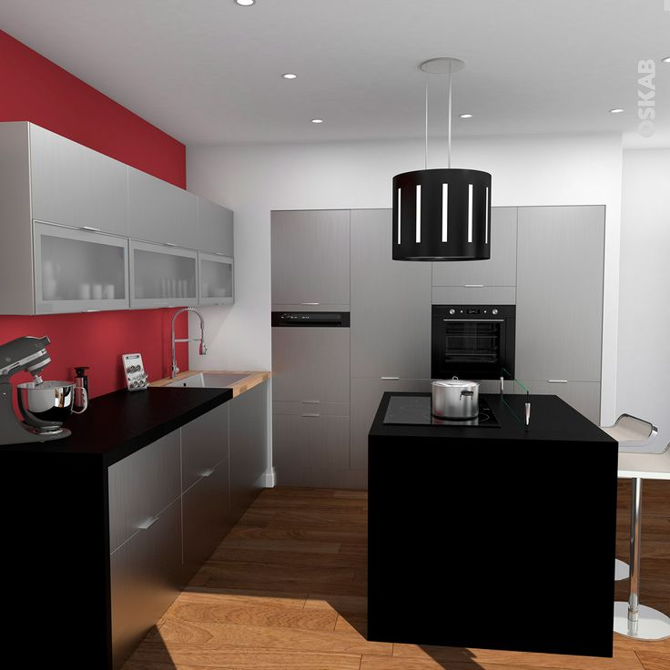 Cuisine en inox ultra design avec lot central plan de for Meuble pour ilot central