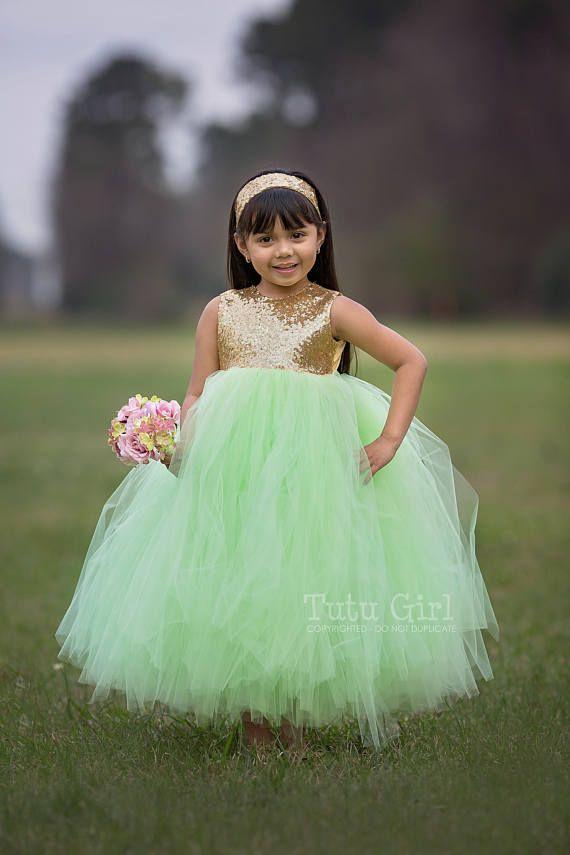 643d49bc5f Mint Flower Girl Dress Mint and Gold Sequin Tutu Dress, Mint Green ...