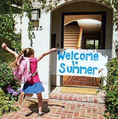 """""""How fun would it be to have a bucket of water balloons and squirt guns waiting... in fact, why not make it a whole """"welcome to summer"""" BBQ (glow sticks, star gazing, lightning-bug-catching... sounds like a summer night to me!)"""" Love this!"""