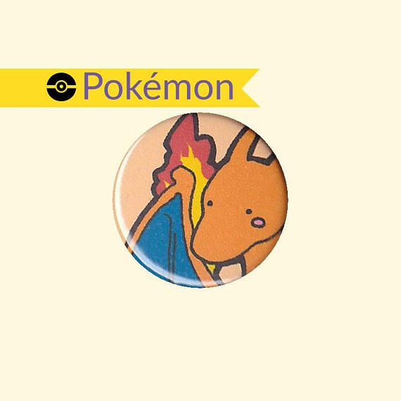 A badge featuring a chibi (little cute) version of Charmander's and Charmeleon's evolution: Charizard, #06 in the Pokedex.
