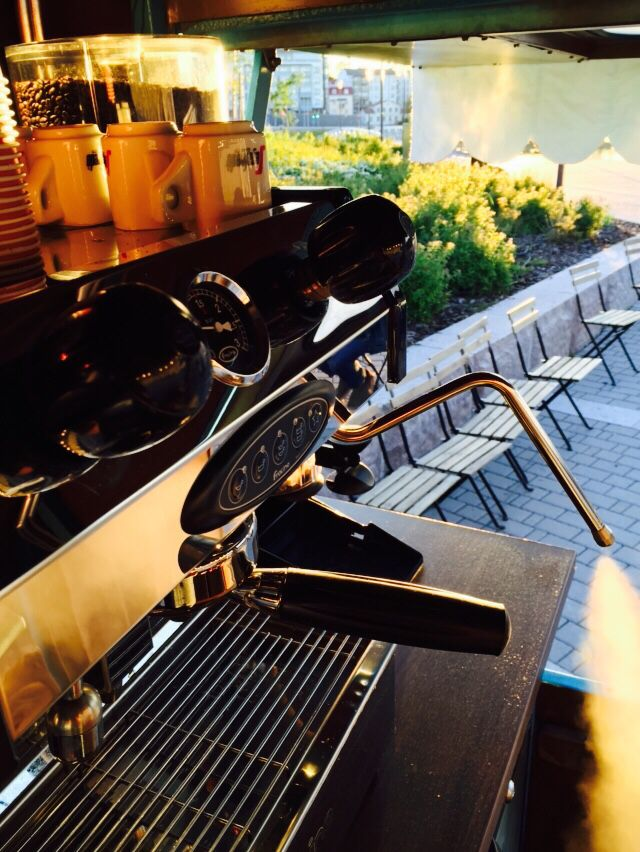 Serving coffee at sunset.