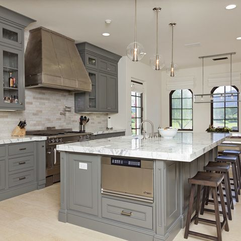 Brown Tile Floor Wood Cabinets Kitchen