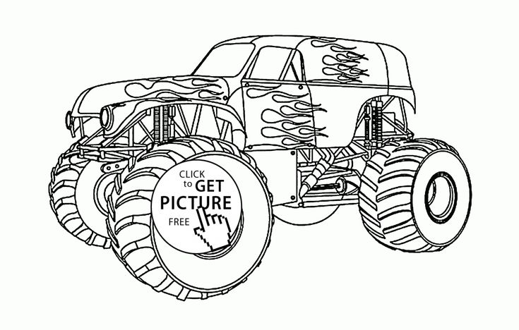 Beautiful Monster Truck coloring page for kids