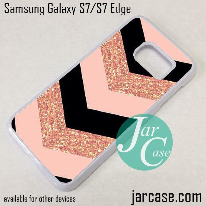 Pink Glitter Chevron Phone Case for Samsung Galaxy S7 & S7 Edge
