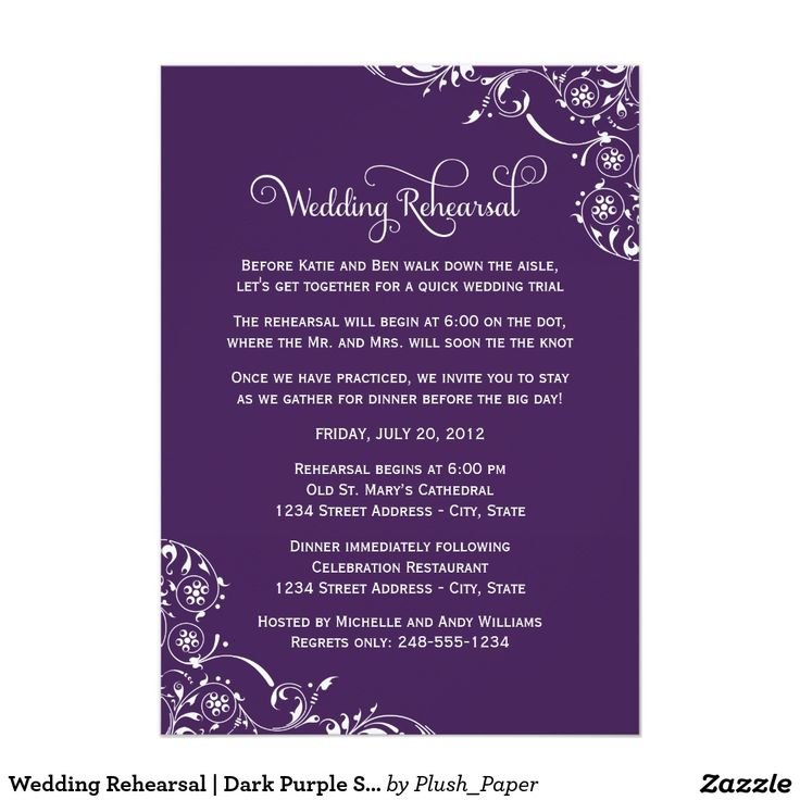 485 best rehearsal dinner invitations images on pinterest convites wedding rehearsal dark purple scroll junglespirit Image collections