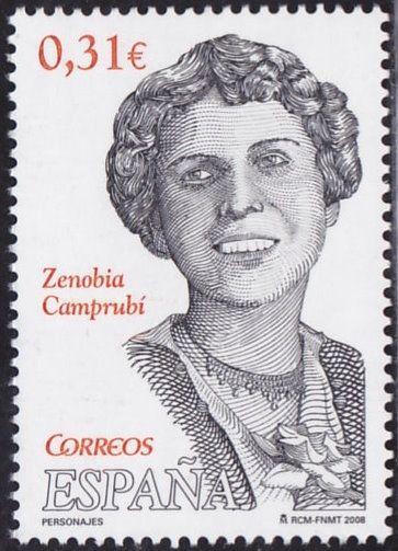 Sello de correos conmemorativo, dedicado a Zenobia Camprubí.