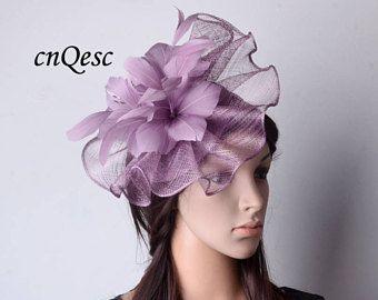 Design exclusif lavande violette Big bibi avec fleur en plumes, idéal pour la fête de mariage Kentucky derby courses coupe de Melbourne