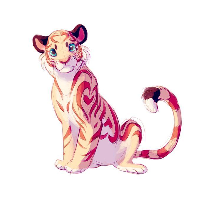 Bourbon/Cadbury/Pastel Heart Tiger by TastesLikeAnya.deviantart.com on @DeviantArt