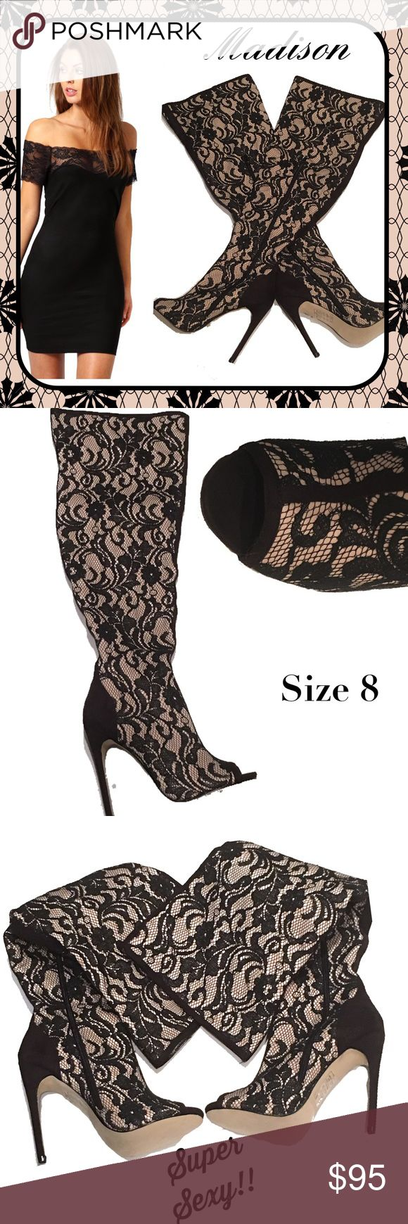 """MADISON Sexy Vixen Black Lace Over Knee Boots ~ 8 So very pretty and ultra sexy are these open-toed over-the-knee stiletto boots from Madison, size 8.  Partial zip on inner calf area and stilettos measure  a whopping 5"""" high.  Condition is excellent!!! Madison Shoes Over the Knee Boots"""