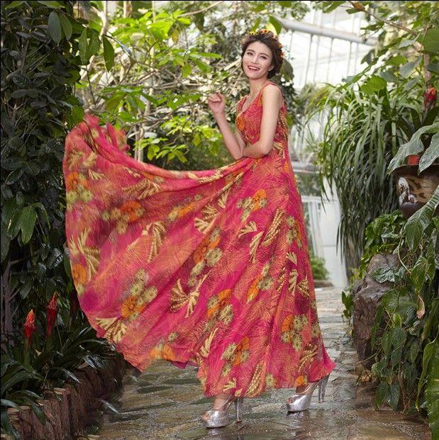 New Arrival Long Maxi Summer Dress Women's Flower Print Chiffon Beach Dress Women's Sleeveless Tank Dress S-XXXXL