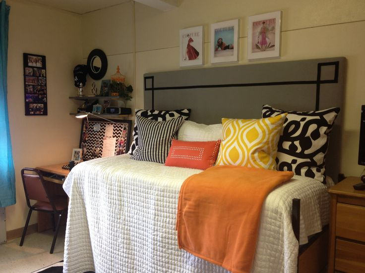 College Dorm Room. Easy Headboard Made Out Of Insulation Board Wrapped With  Batting And Fabric Part 27