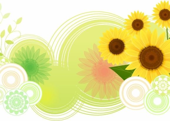 FLOWERS / Free vector Vector flower Sunflower Abstract Vector Illustration