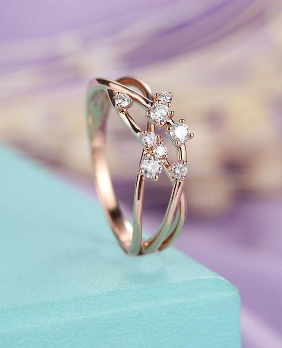 Pearl Engagement Ring Rose Gold Engagement Ring Women Wedding