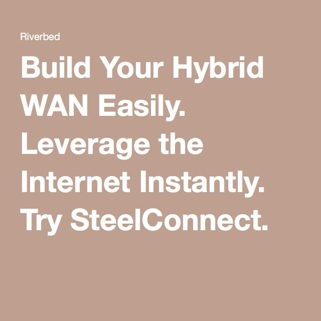 Build Your Hybrid WAN Easily. Leverage the Internet Instantly. Try SteelConnect.