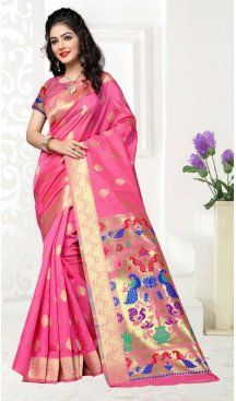 Rose Pink Color Art Silk Pooja and Traditional Wear Saree | FH579186180