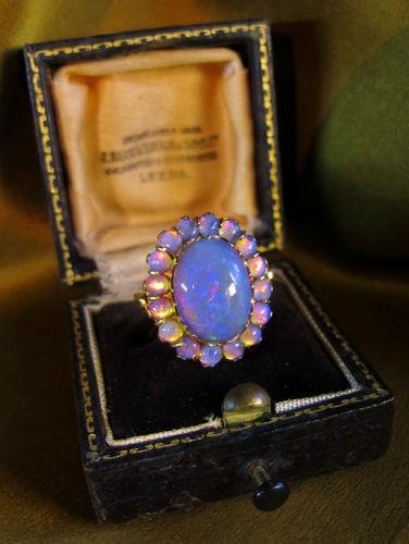 Victorian Black Opal-7cts, 14k Rose Gold