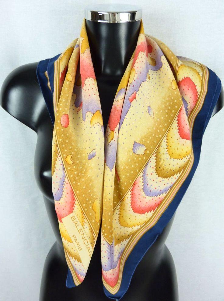 Foulard en soie, vintage, BALENCIAGA, multicolore, tons pastels de la boutique TheNuLIFEshop sur Etsy