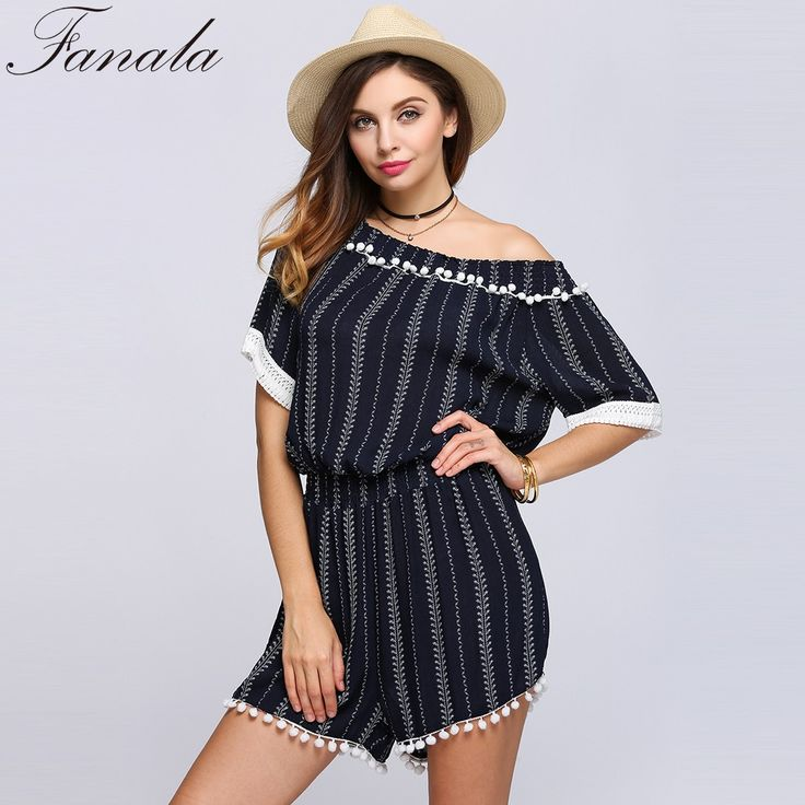Find More Rompers Information about FANALA Fashion Striped Jumpsuit Half Sleeve Off The Shoulder Striped Tassel Rompers Dark Blue Playsuit Women macacao feminino,High Quality macacao feminino,China tassel romper Suppliers, Cheap playsuit women from U-LikeStation on Aliexpress.com