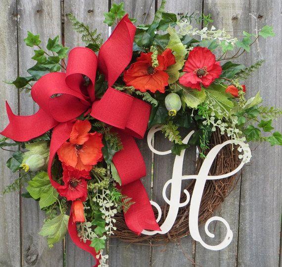 Spring Summer Wreath, Wreath for Spring Summer, Wreath with Poppies, Red and Orange, Summer Door Decor, Designer Poppy Fields Wreath, Horns